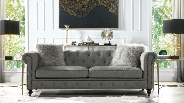 Winston Leather Tufted Chesterfield Sofa, Dark Heathered Grey