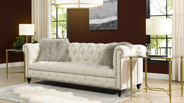 "Alto 88"" Tufted Chesterfield Sofa, Light Beige"