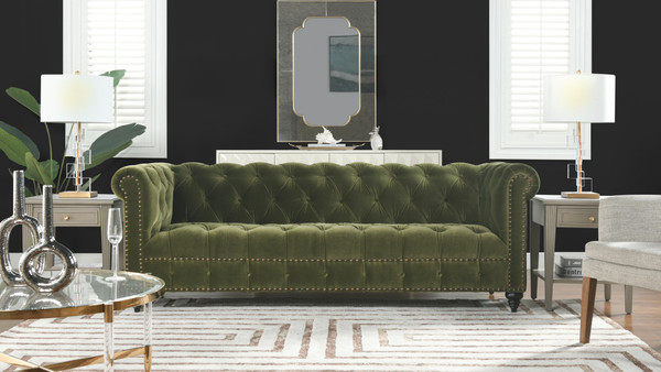 """Alto 88"""" Tufted Chesterfield Sofa, Olive Green"""