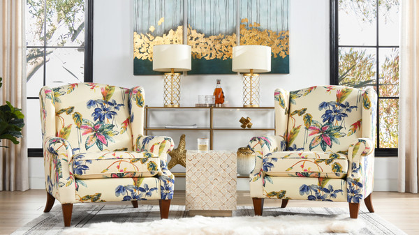 Anya Arm Chair, Bright Beige Tropical Floral