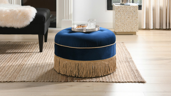 Yolanda Decorative Round Ottoman, Navy Blue
