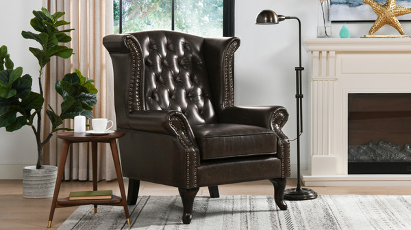 Xavier Upholstered Wingback Arm Chair, Vintage Brown