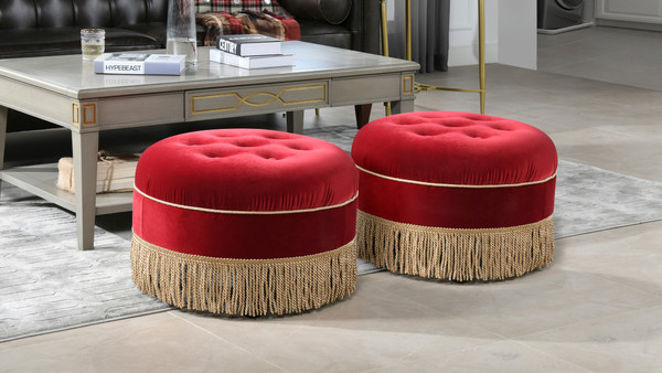 Yolanda Decorative Round Ottoman, Siren Red