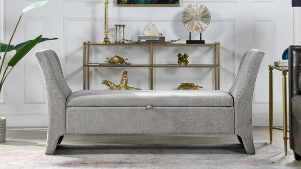 Francis Shelter Arm Upholstered Storage Bench, Silver Grey
