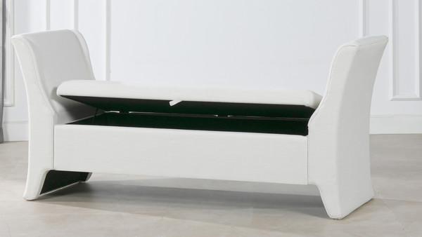 Francis Shelter Arm Upholstered Storage Bench, Antique White