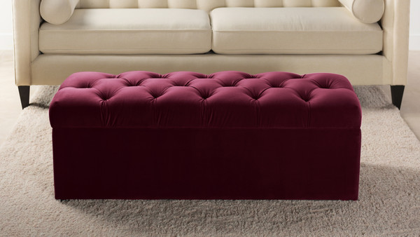 Arlo Tufted Storage Bench, Burgundy