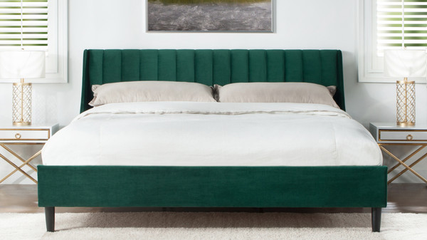 Aspen Upholstered Platform Bed, California King, Evergreen