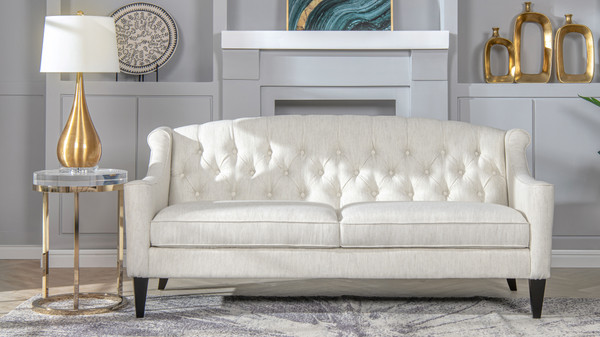 Ken Upholstered Button Tufted Sofa, Natural White