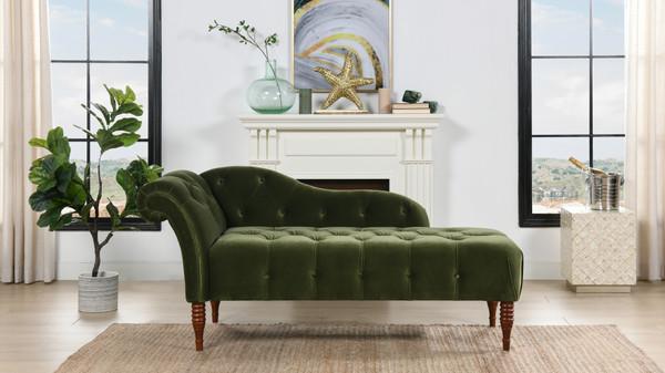 Samuel Tufted Chaise Lounge, Right Arm Facing, Olive Green