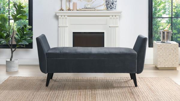 Duff Mid-Century Modern Upholstered Flip Top Storage Bench, Steel Gray