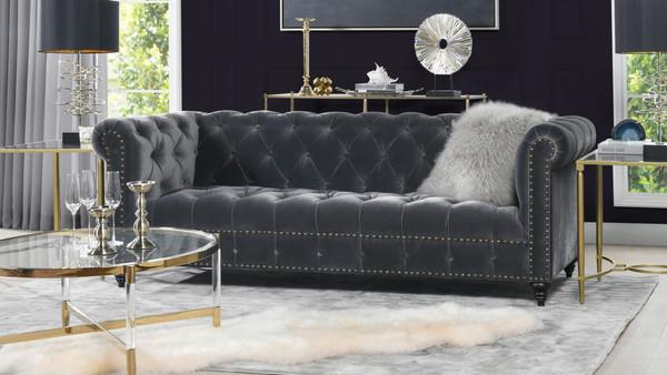 "Alto 88"" Tufted Chesterfield Sofa, Steel Gray"