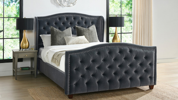 Marcella Upholstered Shelter Headboard Bed Set, Queen, Steel Gray Performance Velvet