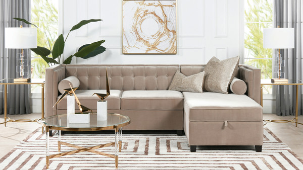 """Jack 100"""" Tuxedo Sectional with Reversible Chaise and Storage, Mink Beige Performance Velvet"""