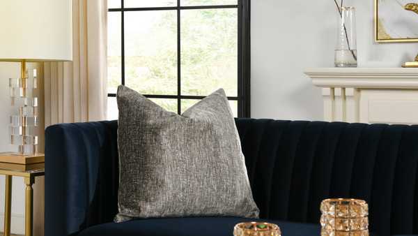 "Plume 24"" Square Feather Down Throw Pillow, Set of 2, Brilliant Gray"