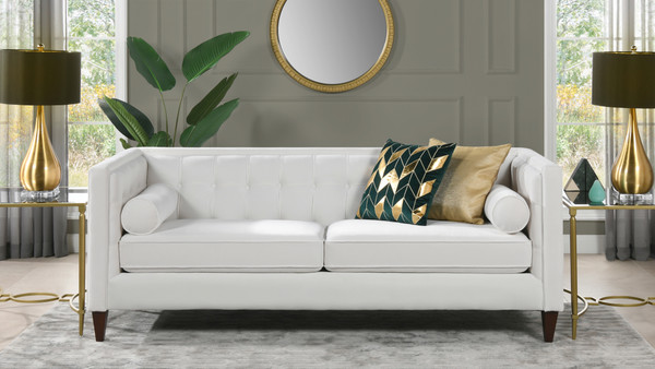 "Jack 84"" Modern Tuxedo Tufted Sofa, Cloud White Performance Velvet"
