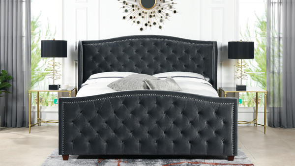 Marcella Upholstered Shelter Headboard Bed Set, King, Steel Gray Performance Velvet