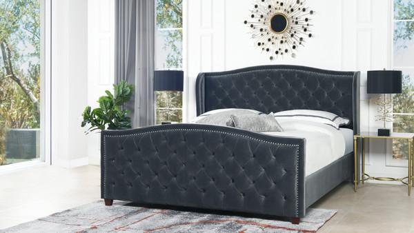 Marcella Upholstered Shelter Headboard Bed Set, King, Steel Gray Performance Velvet