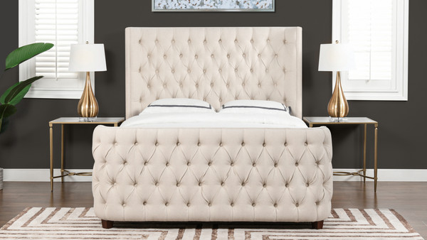 Brooklyn Queen Tufted Panel Bed Headboard and Footboard Set, Light Beige
