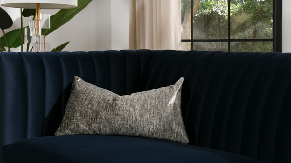"Plume 22"" Feather Down Lumbar Throw Pillow, Brilliant Gray Chenille Jacquard"