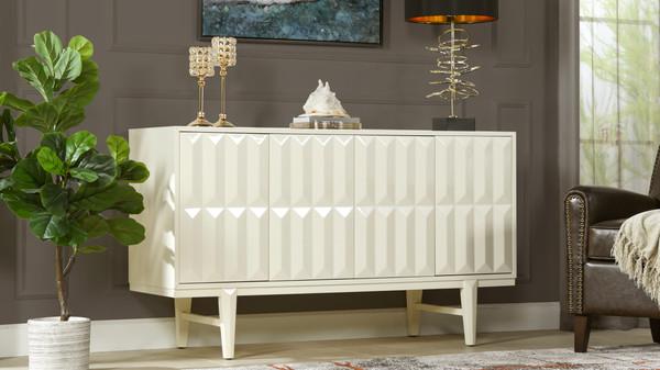 "Facino 58.5"" Modern Sideboard Storage Buffet Table, White Lacquer Birchwood"