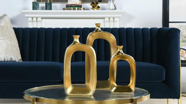 Gilt Open Ceramic Decorative Gold Vases, Set of 3, Satin Gold