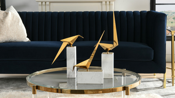 Ibis Origami Birds Decorative Object, Set of 3, Mirrored Gold & White Marble