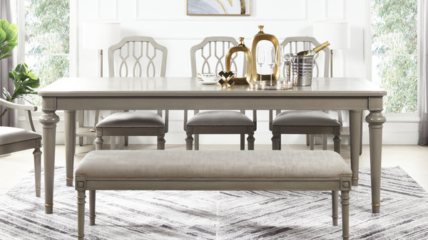 "Dauphin 86.5"" Rectangular 8-Seater Dining Table, Grey Cashmere"