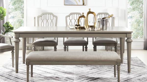 "Dauphin 86.5"" Rectangular 8-Seater Dining Table, Grey Cashmere"