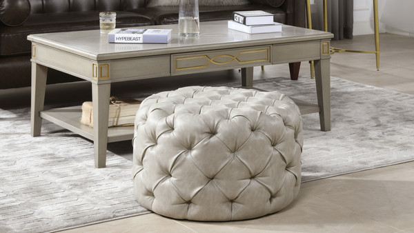 Ace Round Tufted Accent Ottoman, Warm Gray