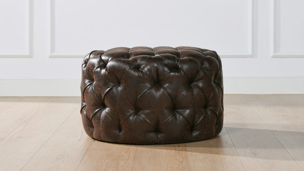 Ace Round Tufted Accent Ottoman, Classic Brown