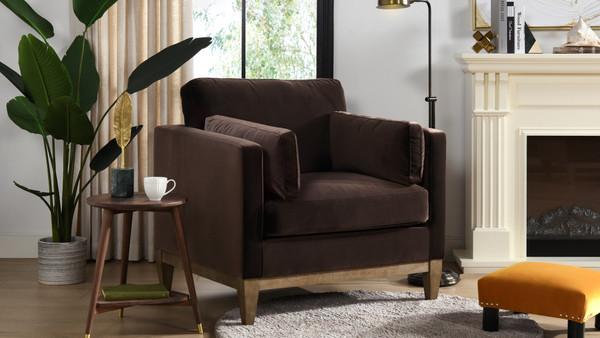 """Knox 36"""" Modern Farmhouse Arm Chair, Deep Brown"""