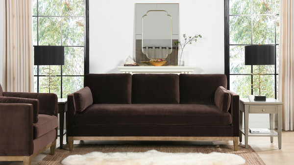 "Knox 84"" Modern Farmhouse Sofa, Deep Brown"