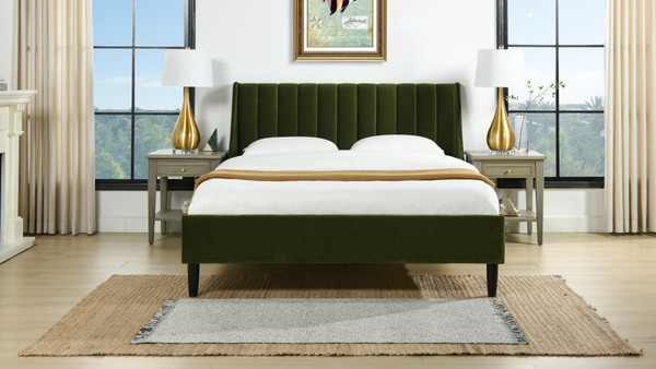 Aspen Vertical Tufted Modern Headboard Platform Bed Set, Queen, Olive Green