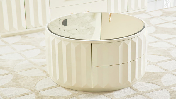 "Facino 35.5"" Round Storage Coffee Table, White Lacquer"
