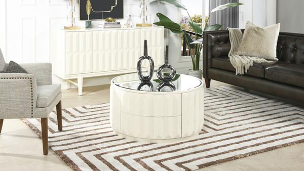 "Facino 35.5"" Round Storage Coffee Table, White Lacquer"