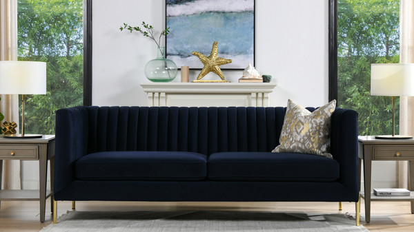 "Riviera 84"" Channel Tufted Modern Tuxedo Sofa, Dark Navy Blue Velvet"