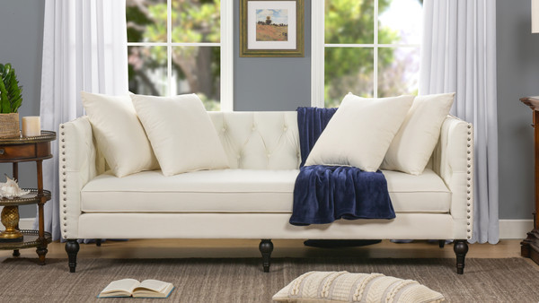 Stanbury Tuxedo Sofa, Antique White