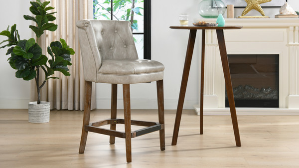 "Emma 26.5"" Armless Counter Bar Stool, Warm Gray Faux Leather"