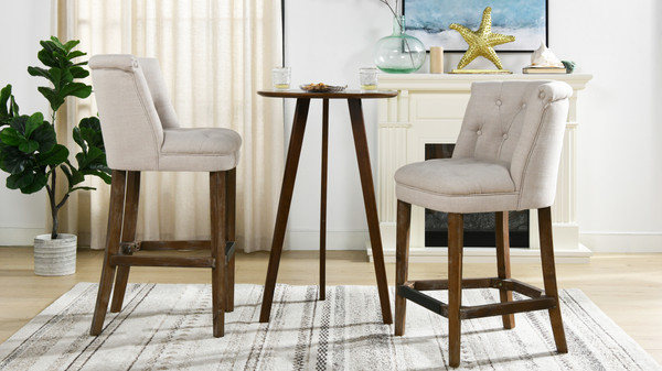 "Emma 30.5"" Mid-Back Armless Bar Stool, Greige Gray Linen"