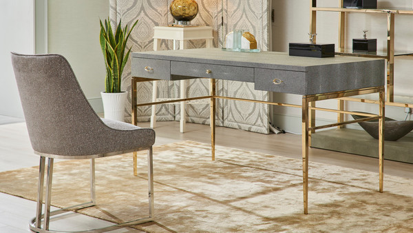 "Mystic 57"" 3-Drawer Home Office Desk, Black & White Faux Shagreen"