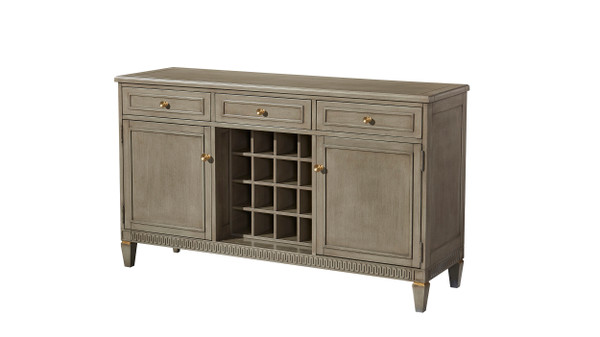 "Dauphin 183"" Wine Bar Buffet Server, Gray Cashmere Mahogany Veneer"