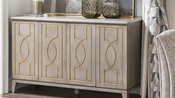 "Dauphin 55"" Storage Cabinet Console Table, Gray Cashmere Mahogany Veneer"
