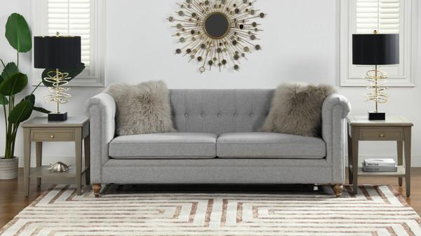 "Shiloh 84"" Farmhouse Chesterfield Sofa, Light Grey"