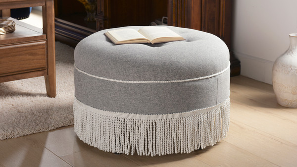 Yolanda Decorative Round Ottoman, Dyed, Light Grey