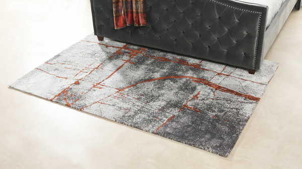 "Quarry 5 x 6.5"" Abstract Area Rug, Gray & Orange Polypropylene"