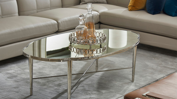 "Mithril 52"" Scalloped Mirrored Coffee Table, Polished Silver Stainless Steel"