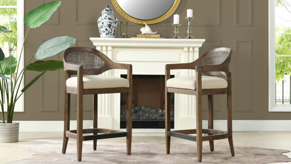 """Americana 26"""" Cane Back Counter-Height Bar Stool, Taupe Beige"""