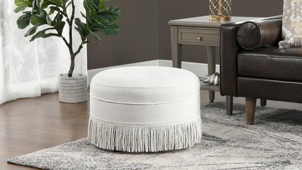 Yolanda Upholstered Round Accent Ottoman, Alabaster Off White