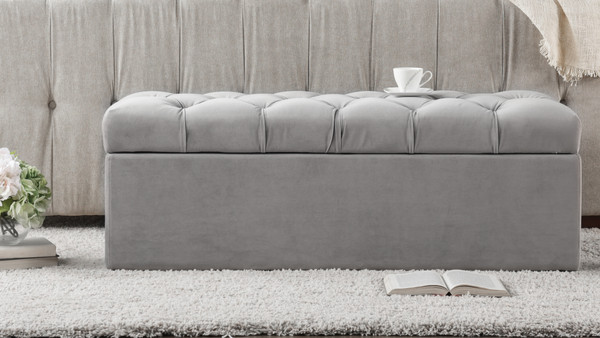 Arlo Tufted Flip Top Storage Bench, Opal Grey