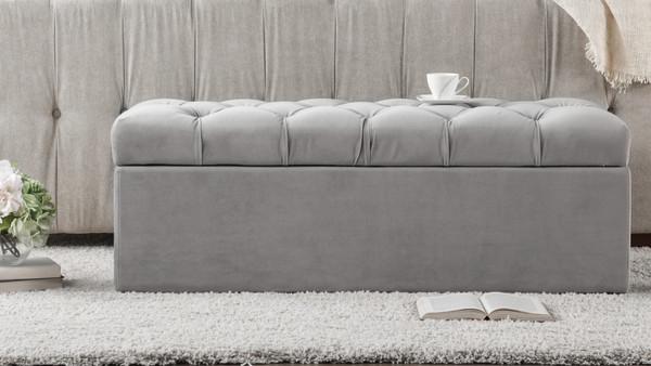 Arlo Tufted Flip Top Storage Bench, Opal Grey